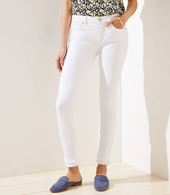 Petite Curvy Double Frayed Slim Pocket Skinny Jeans in White
