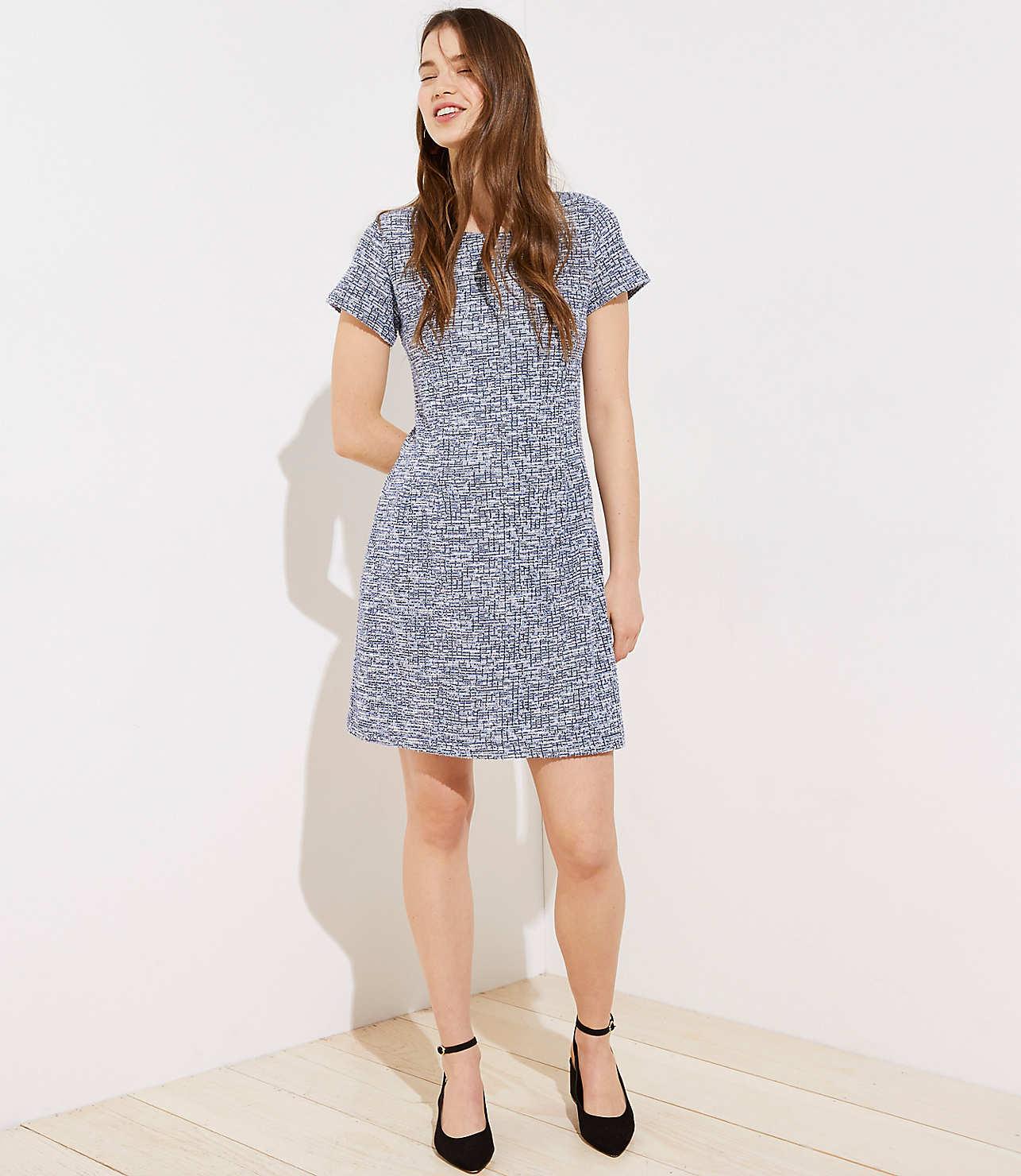 Textured Back Cutout Sheath Dress by Loft