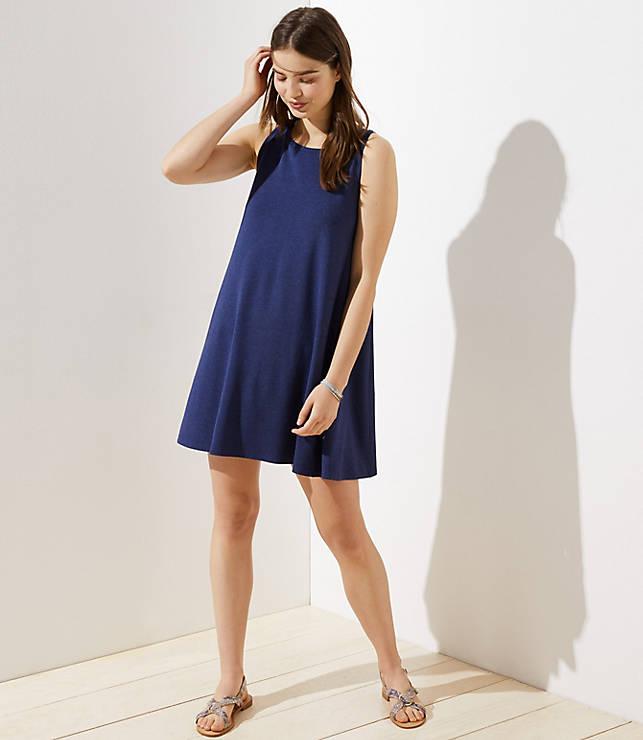 6008ee13f45 Tie Back Sleeveless Swing Dress | LOFT