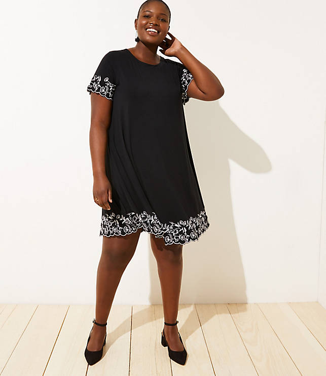 Loft Plus Floral Embroidered Short Sleeve Swing Dress by Loft