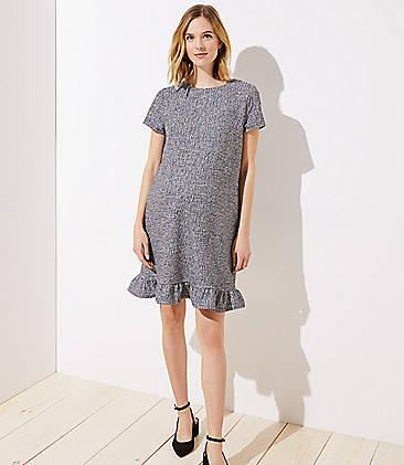 3bf31a8fca2 Maternity Boucle Ruffle Shift Dress