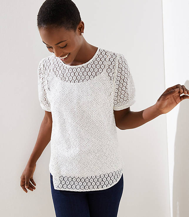 Petite Lace Puff Sleeve Button Back Top