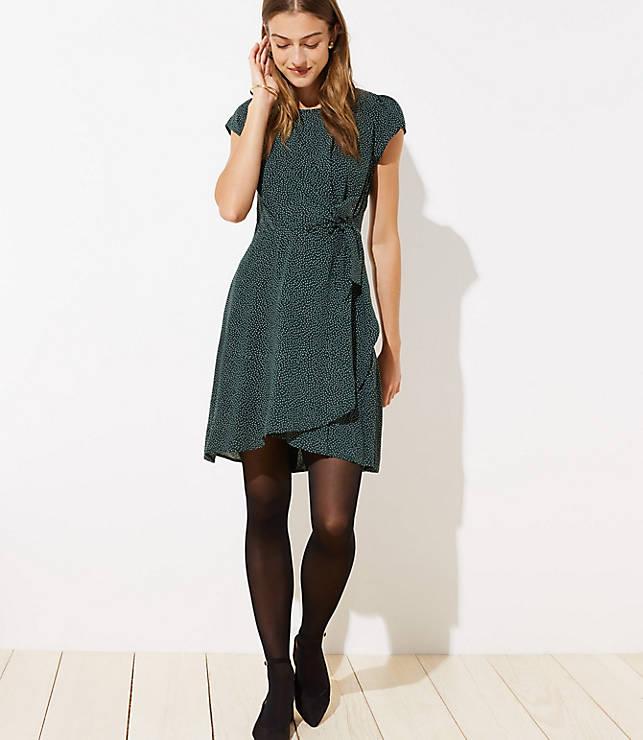 Petite Dotted Wrap Skirt Flutter Dress
