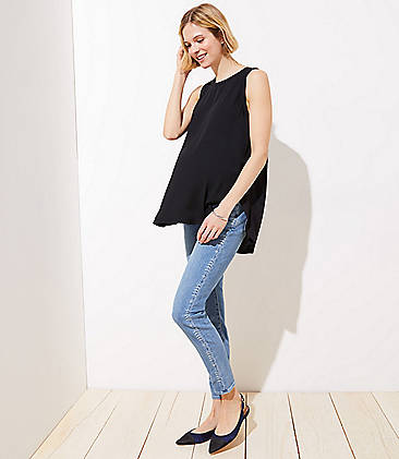 dcb073fceac Maternity Vine Trim Soft Slim Pocket Skinny Crop Jeans in Vivid Light  Indigo Wash