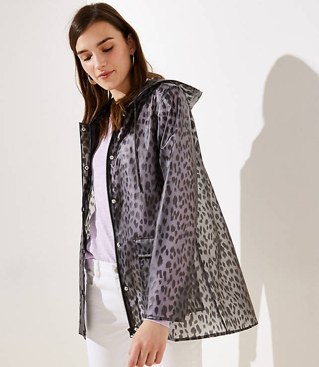 Petite Leopard Print Raincoat