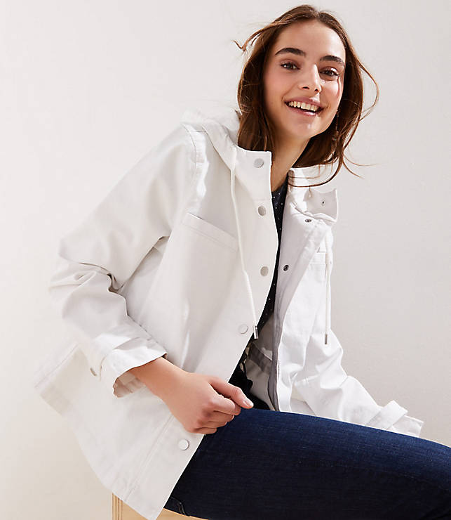 Petite Hooded Drawstring Jacket