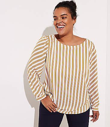 455fcd1494f LOFT Plus Striped Shirttail Blouse