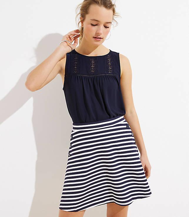 Petite Striped Flare Sailor Skirt