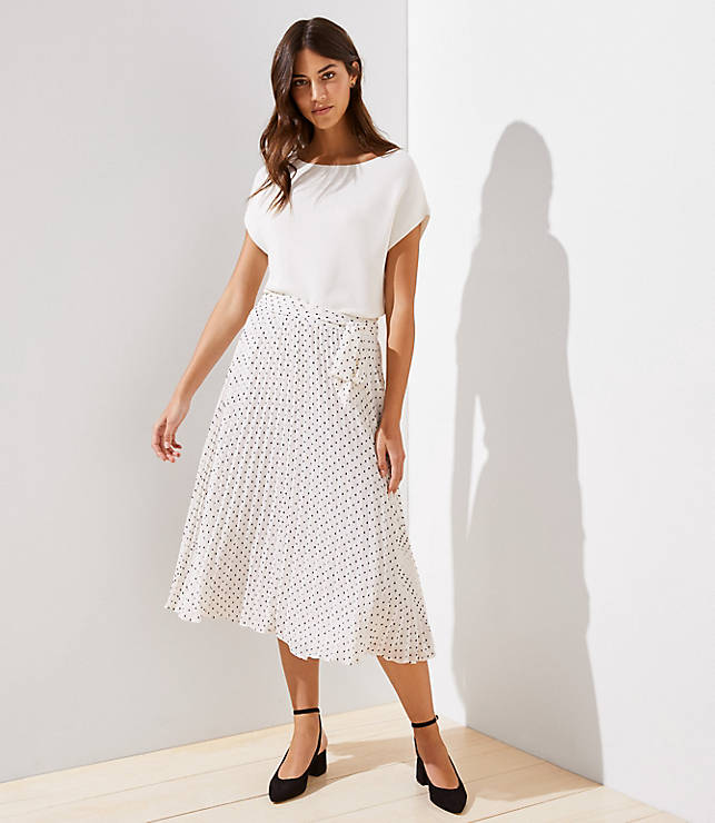 Petite Tie Waist Pleated Midi Skirt by Loft