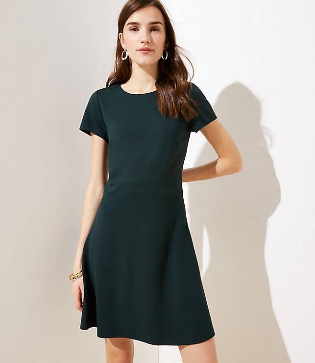 Petite Ponte Flare Dress