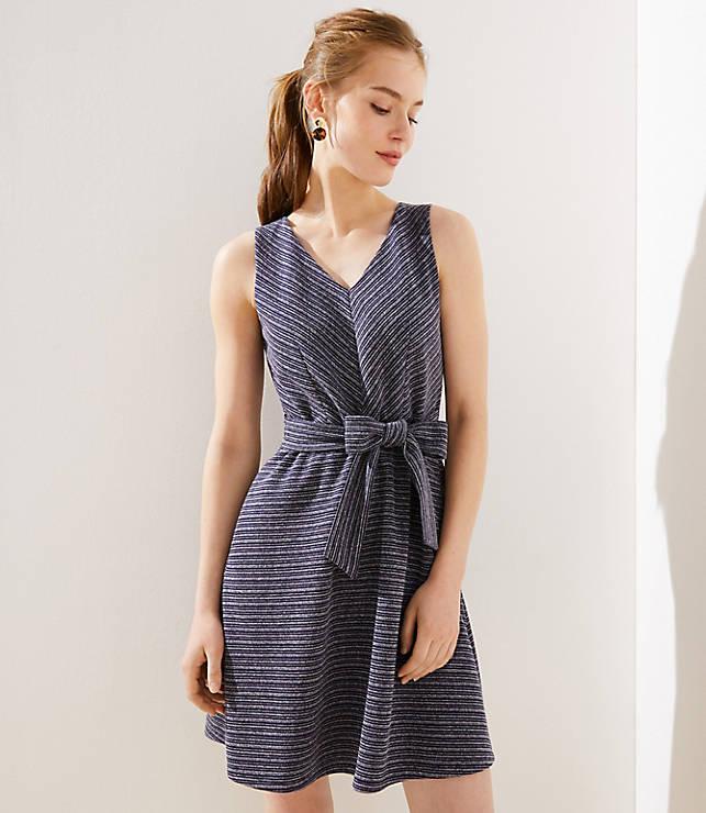 Petite Textured Stripe Tie Waist Flare Dress