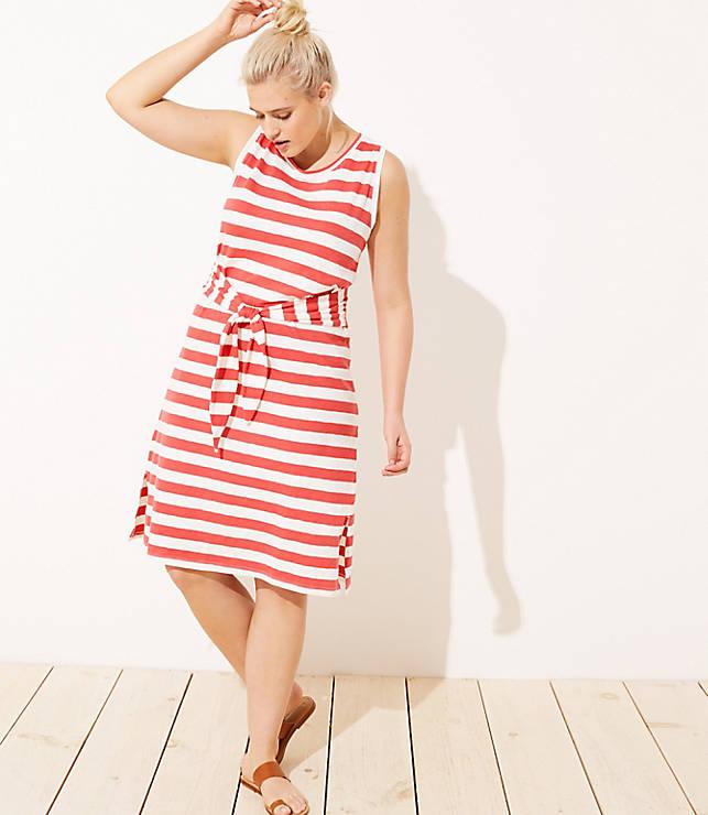 bdd6360756 LOFT Plus LOFT Beach Striped Tie Waist Midi Dress