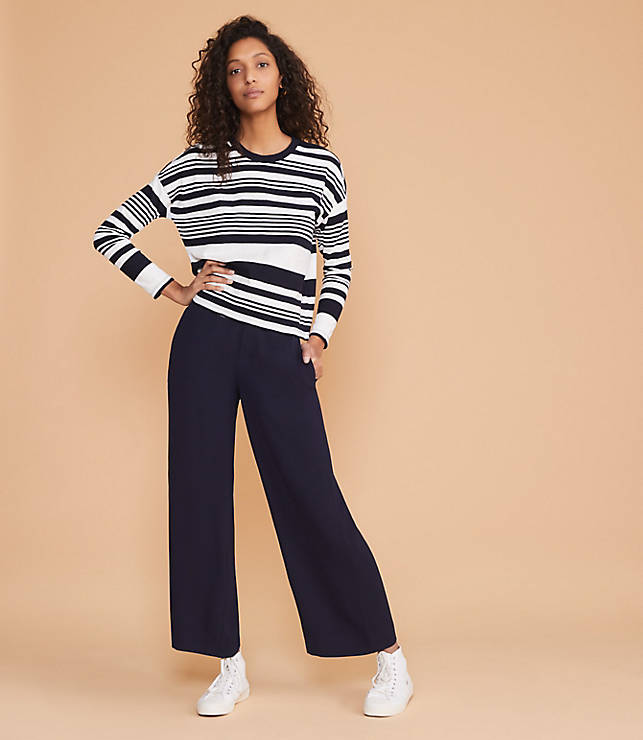 fba265a73cc Lou   Grey Striped Cozy Jersey Cropped Tee