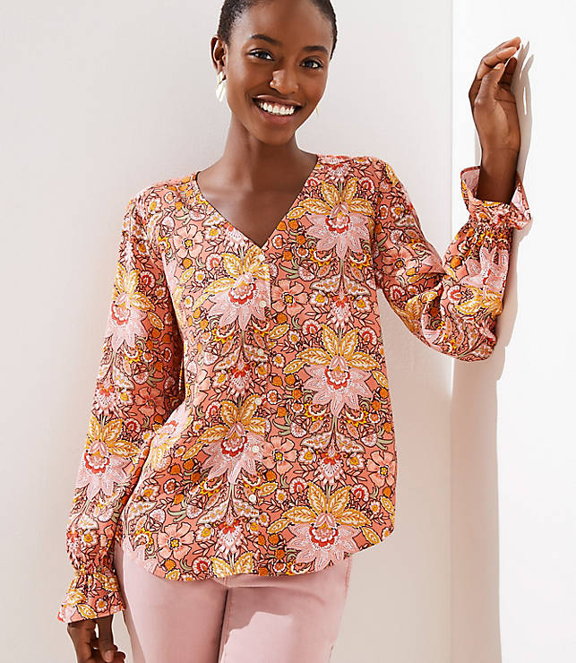Petite Paisley Bell Cuff Button Front Blouse
