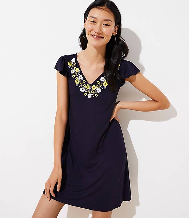 a8a72e3e99 Petite Embroidered Flutter Swing Dress | LOFT