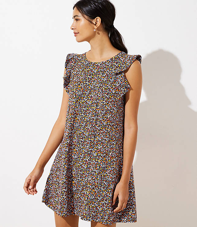 Petite Floral Flutter Swing Dress