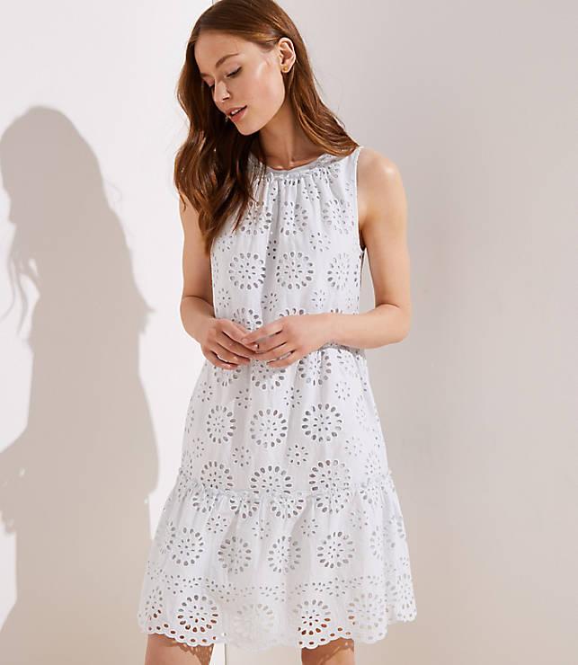 Petite Tiered Eyelet Dress