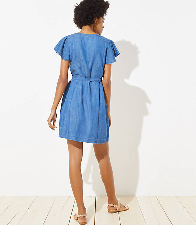 9e4561f9b5 ... Petite Chambray Flutter Tie Waist Shirtdress. previous image next image