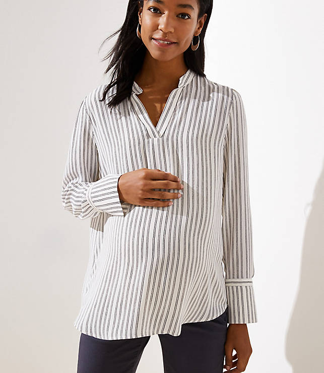 bc72542f5b Maternity Striped Split Neck Blouse | LOFT