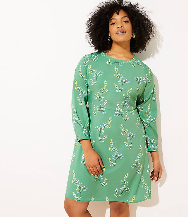 5c46fe736b8 LOFT Plus Flower Branch Flare Shirtdress