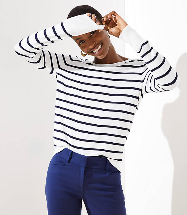 Petite Striped Everyday Sweater