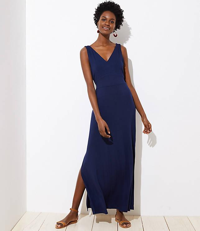Petite LOFT Beach Tie Waist Maxi Dress
