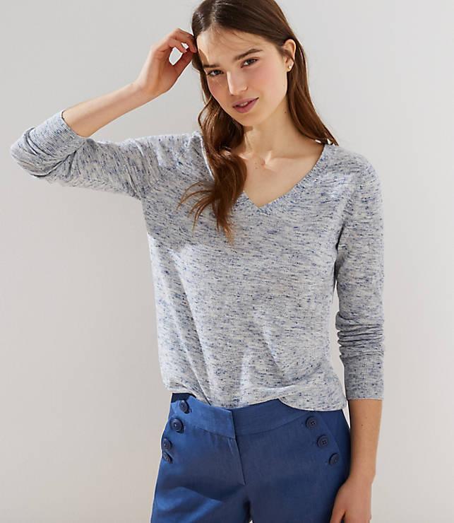 Petite Spacedye Double V Sweater