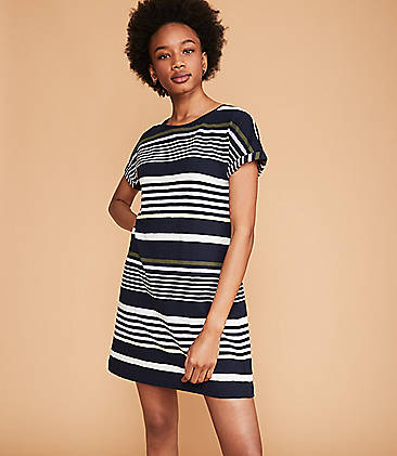 6f278bcdbf6 Lou   Grey Stripe Cuffed Tee Dress