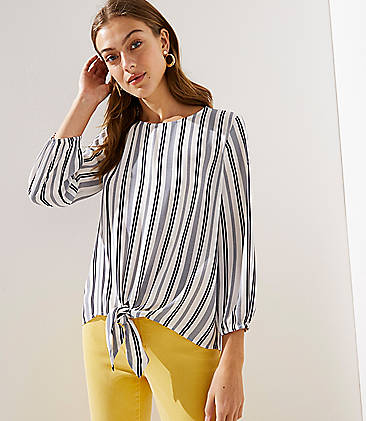 2920a5073b5fe Striped Tie Front Blouse