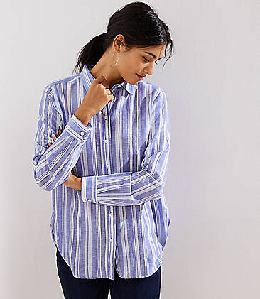 Loft Striped Button Down Women's Shirt (White)