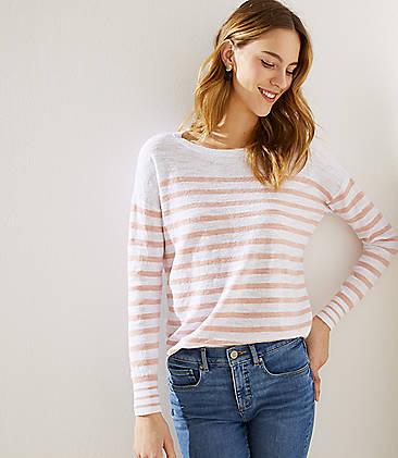 a78f61f867 Striped Shirttail Sweater