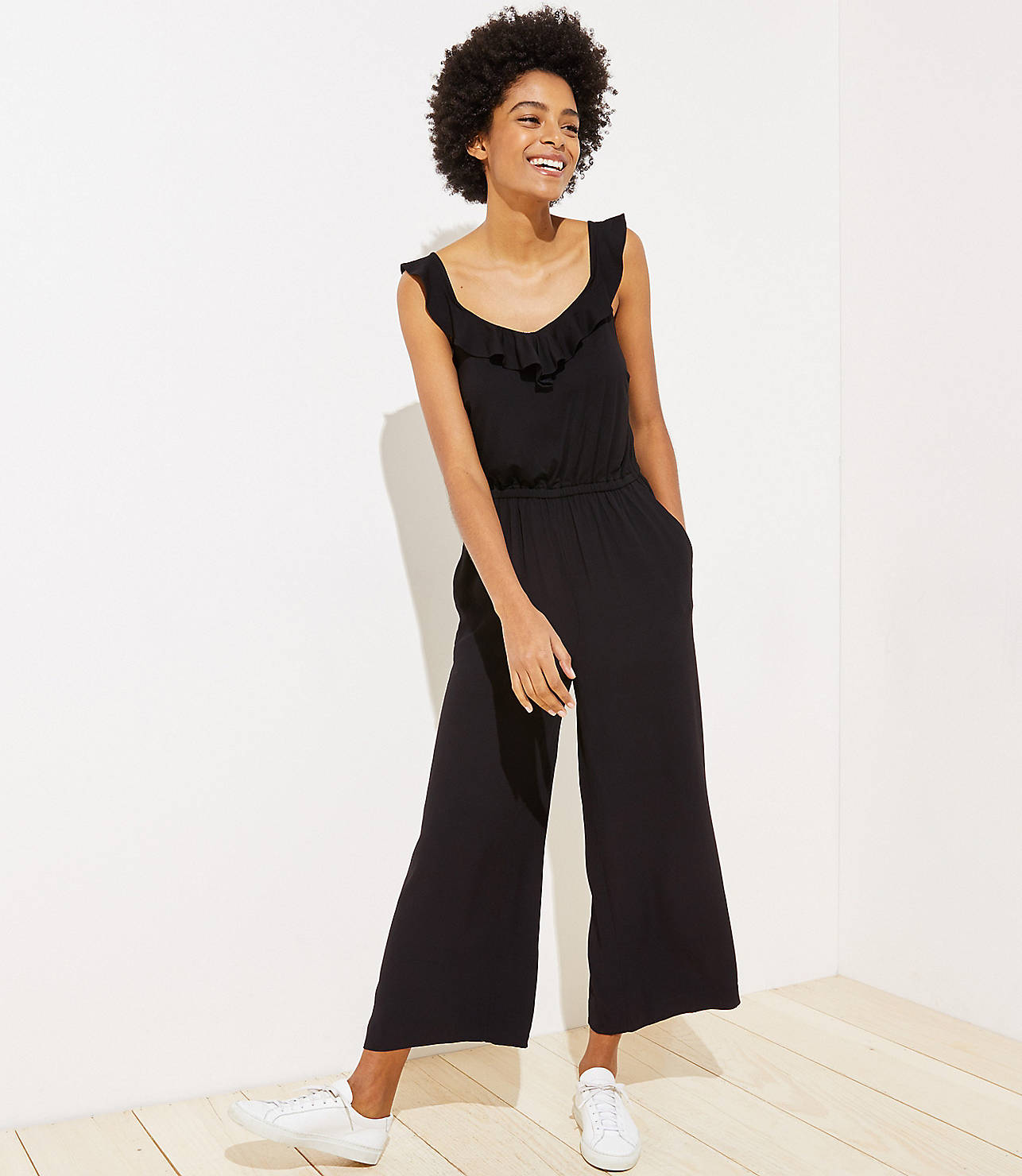 3273287437da07 Petite Ruffle Neck Mixed Media Jumpsuit. Hover to Zoom