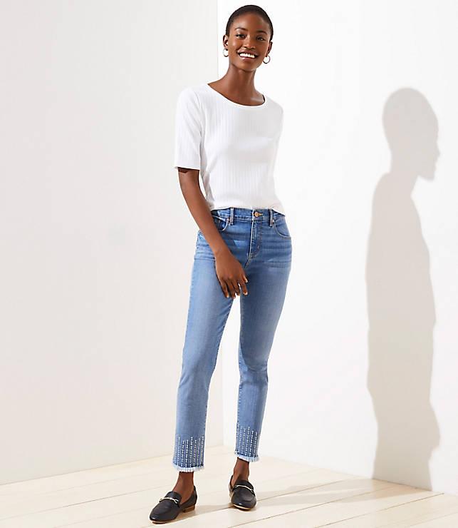 Petite Stitched Soft Slim Pocket Skinny Crop Jeans in Pure Mid Indigo Wash