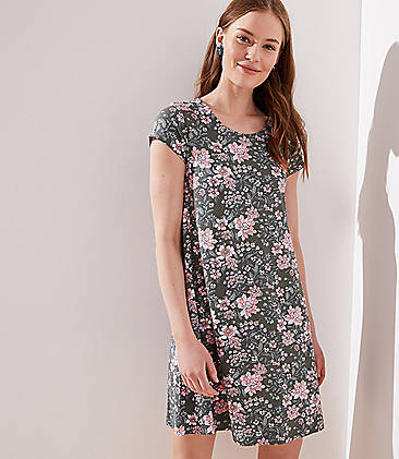 8ed0afb7b2c9 Floral Short Sleeve Swing Dress
