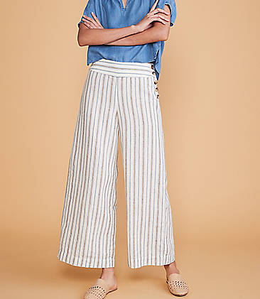 c87f9852 ... 89.50 Lou & Grey Striped Button High Waist Wide Leg Linen Pants