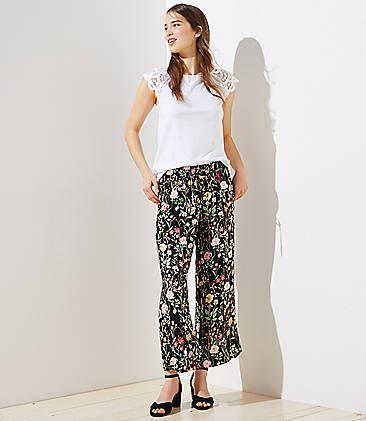 b2147acde42 Petite Floral Fluid Drawstring Pants