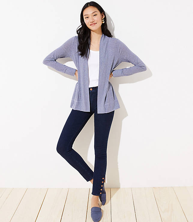 Striped Jersey Open Cardigan by Loft