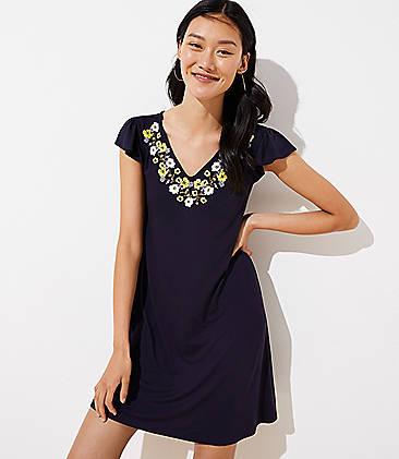 5952d444a28 Tall Embroidered Flutter Swing Dress
