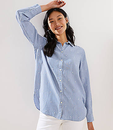 bee7156abaf Petite Embroidered Dot Striped Button Down Shirt