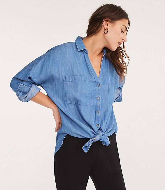 69b8c59d Shoptagr | Lou &Amp; Grey Chambray Tie Front Shirt by Loft
