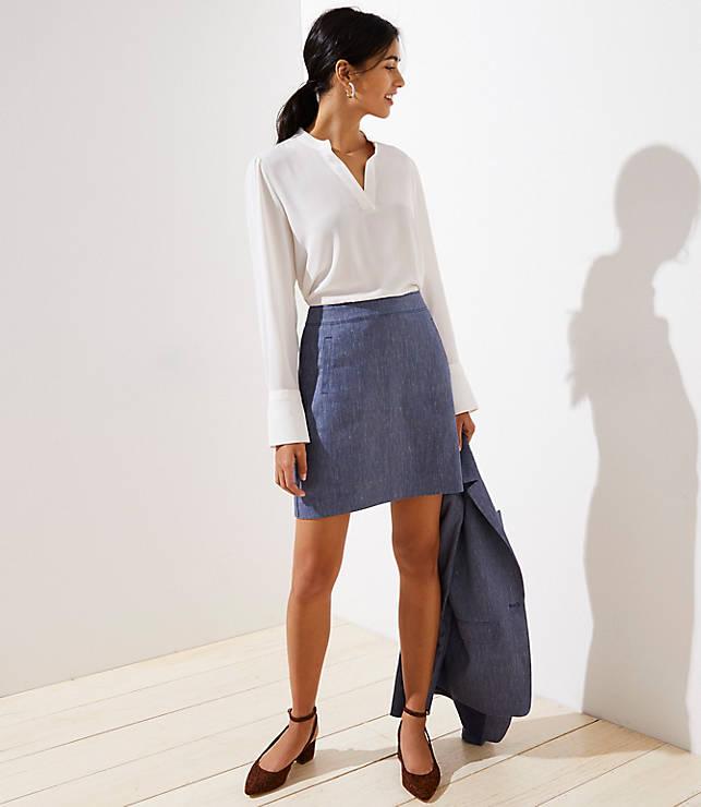 Petite Textured Pocket Shift Skirt