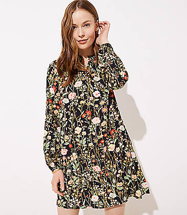 9bf3140774ac Floral Ruffle Split Neck Dress