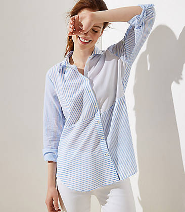 d03f8553a85 Mixed Stripe Button Down Tunic Shirt