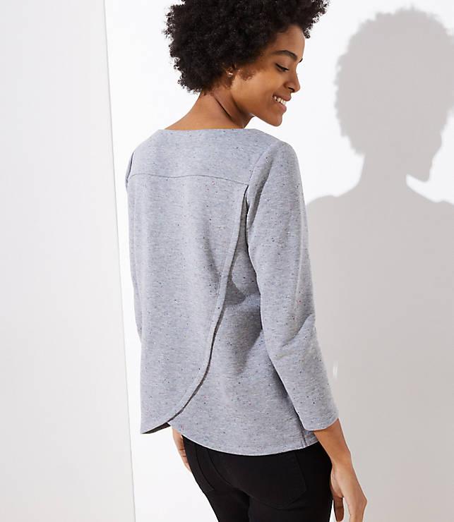 Petite Flecked Crossover Back Sweatshirt