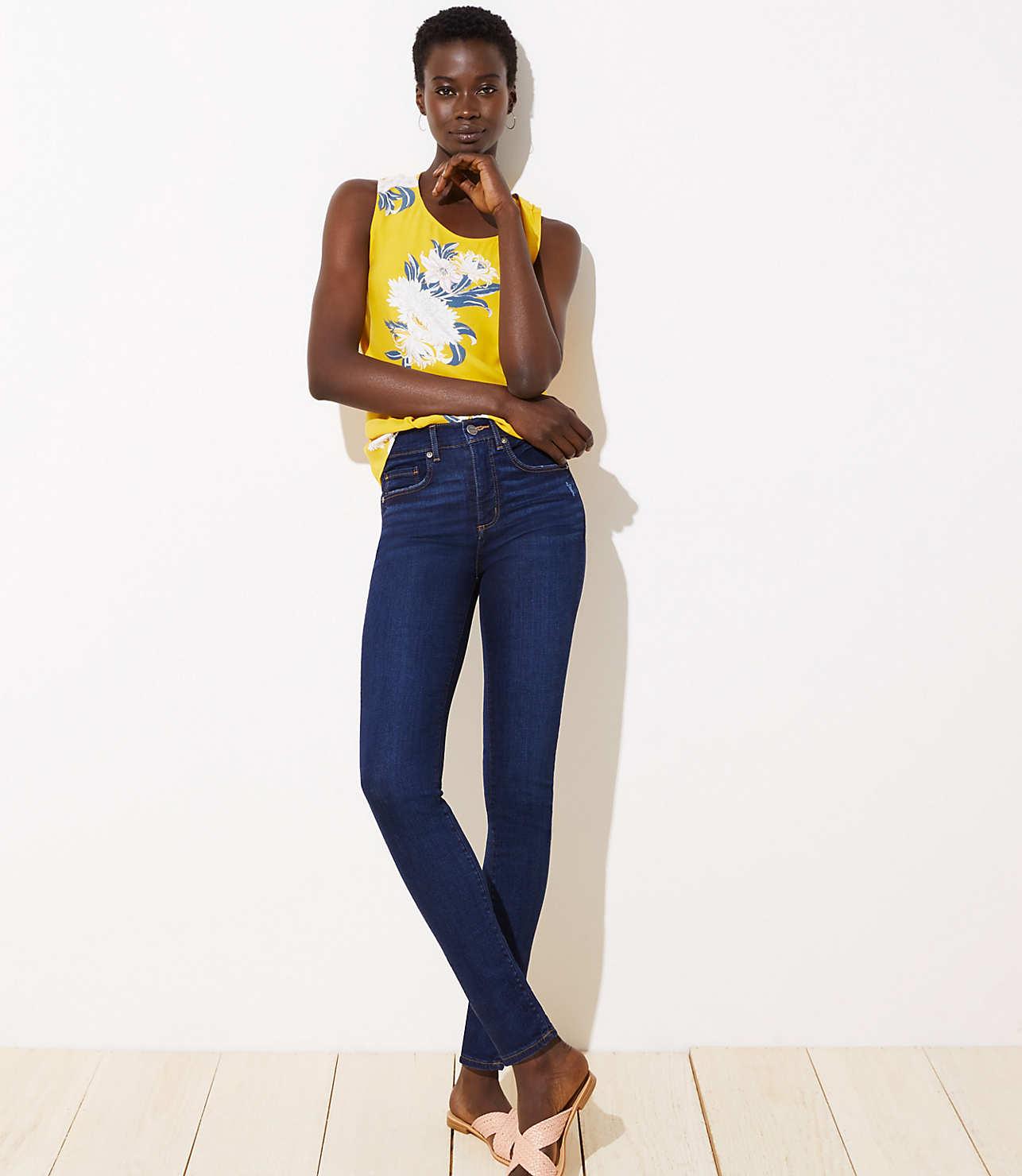 soft and light buy online enjoy bottom price High Rise Soft Slim Pocket Skinny Jeans in Luxe Dark Wash | LOFT