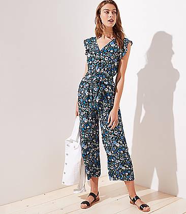 edbbaa9714c9 Tall Floral Flutter Tie Waist Jumpsuit