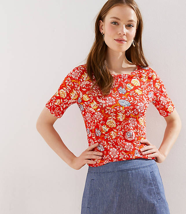 Petite Floral Elbow Sleeve Linen Tee