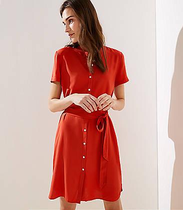 2241d703f7 Short Sleeve Tie Waist Shirtdress