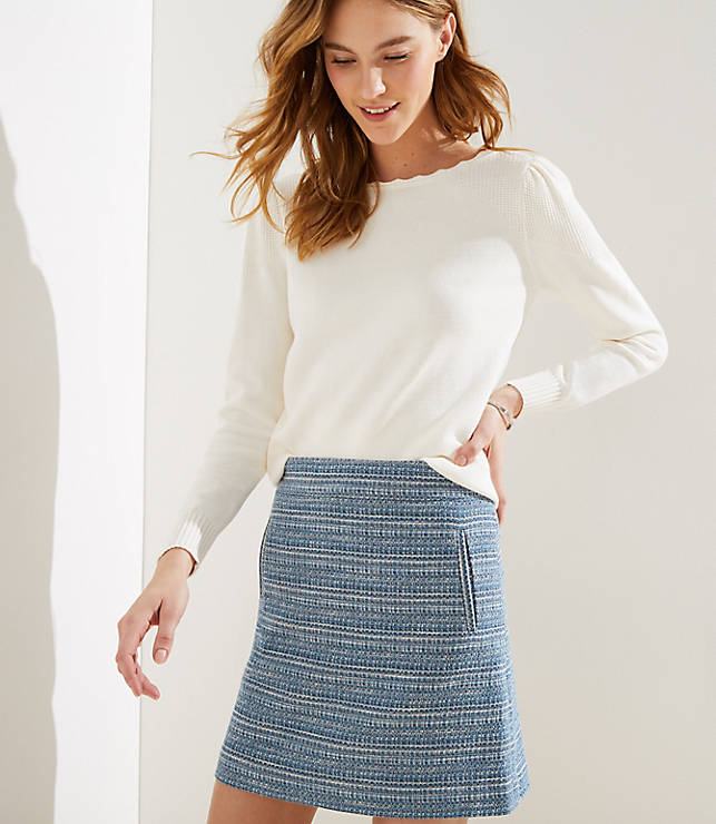 Petite Striped Tweed Shift Skirt