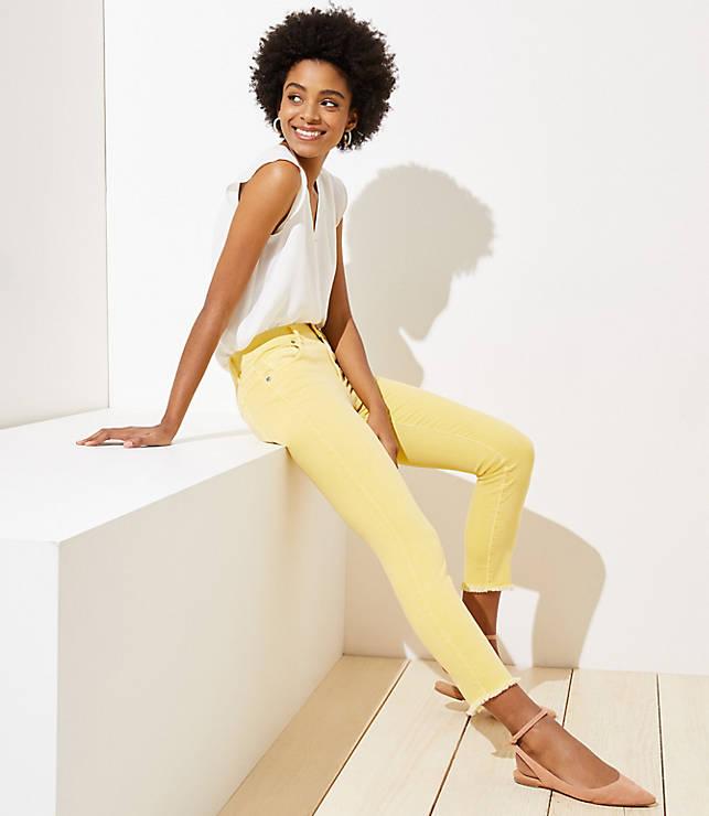 Petite Modern Slim Pocket Skinny Crop Jeans in Yellow